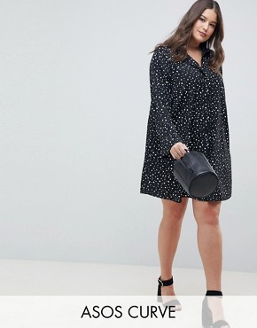 photo Long Sleeve Shirt Mini Dress in Scatter Spot by ASOS DESIGN Curve, color Black/White - Image 1