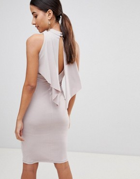 photo Waterfall Bodycon Dress by Love, color Camel - Image 2