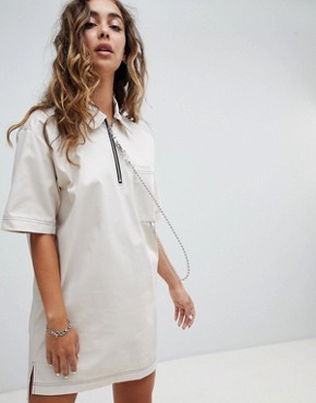 photo Woven T-Shirt Dress with Ball Chain by the Ragged Priest, color Stone - Image 1
