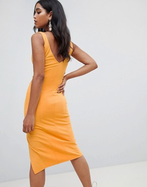 photo Cupped Lace up Sides Midi Dress by ASOS DESIGN, color Marigold - Image 2