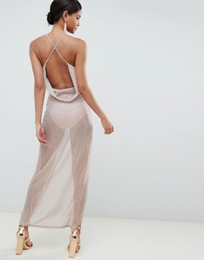 photo Metallic Drape Maxi Dress by ASOS DESIGN, color Rose Gold - Image 2