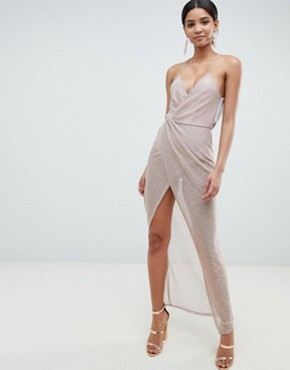 photo Metallic Drape Maxi Dress by ASOS DESIGN, color Rose Gold - Image 1