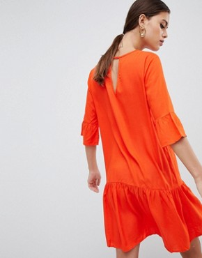 photo Fluted Sleeve Drop Hem Dress by Y.A.S, color Orange - Image 2