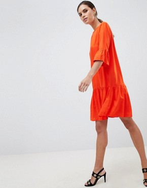 photo Fluted Sleeve Drop Hem Dress by Y.A.S, color Orange - Image 1