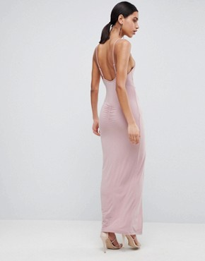 photo Slinky Drape Maxi Dress by ASOS DESIGN, color Mink - Image 2