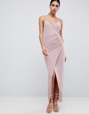 photo Slinky Drape Maxi Dress by ASOS DESIGN, color Mink - Image 1