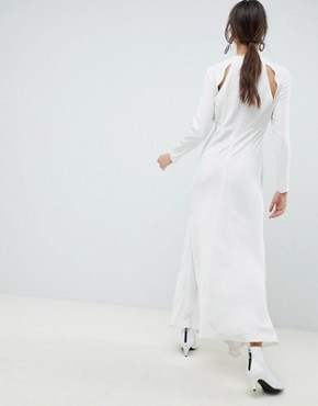 photo Ruffle Maxi Dress in Grid Print by ASOS WHITE, color White - Image 2