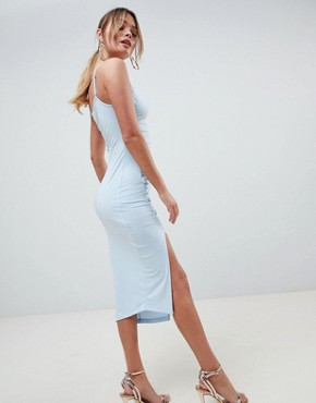photo Button Through Slinky Midi Dress by ASOS DESIGN, color Pale Blue - Image 2
