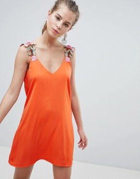 photo Cami Dress with Embroidered Strap Detail by Oeuvre, color Orange - Image 1