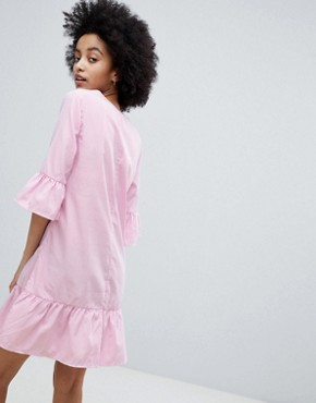 photo Smock Dress with Peplum Hem by Oeuvre, color Pink - Image 2