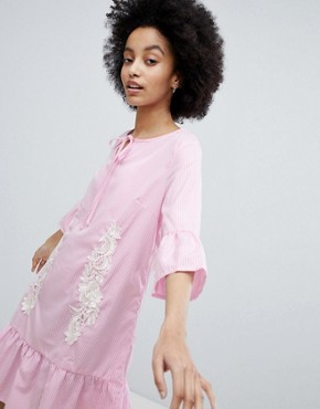 photo Smock Dress with Peplum Hem by Oeuvre, color Pink - Image 1