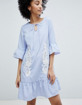 photo Smock Dress with Peplum Hem by Oeuvre, color Blue - Image 1