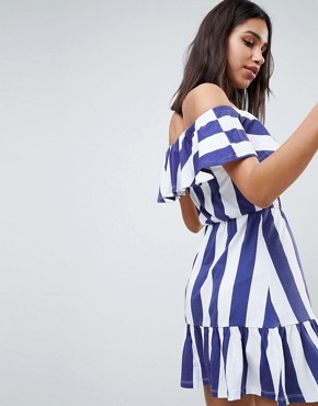 photo Off Shoulder Sundress with Tiered Skirt in Deckchair Stripe by ASOS DESIGN, color Navy/White Stripe - Image 2