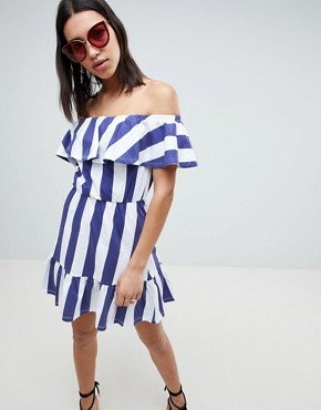 photo Off Shoulder Sundress with Tiered Skirt in Deckchair Stripe by ASOS DESIGN, color Navy/White Stripe - Image 1