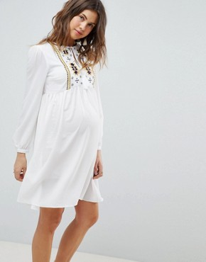 photo Smock Dress with Tassel Ties and Embroidery by Glamorous Bloom, color Cream - Image 1