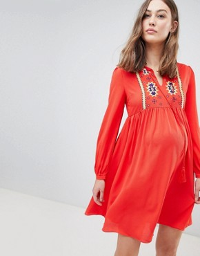 photo Smock Dress with Tassel Ties and Embroidery by Glamorous Bloom, color Red - Image 1