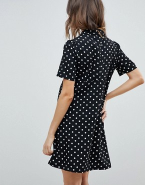 photo Button Down Tea Dress in Polka Dot by Glamorous Bloom, color Black Spot - Image 2