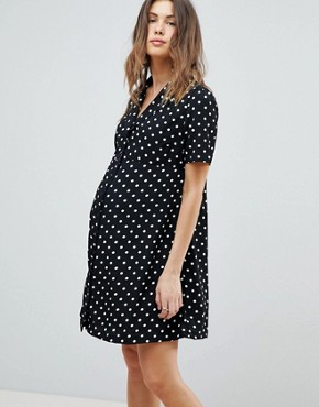 photo Button Down Tea Dress in Polka Dot by Glamorous Bloom, color Black Spot - Image 1