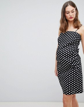 photo Cami Dress with Tie Back in Polka Dot by Glamorous Bloom, color Black White Polka - Image 1
