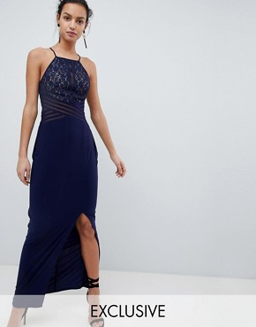 photo Adeline Maxi Dress with Mesh Bust by Coast, color Navy - Image 1
