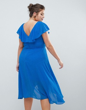 photo Dobby Wrap Dress by Coast Plus, color Mid Blue - Image 2