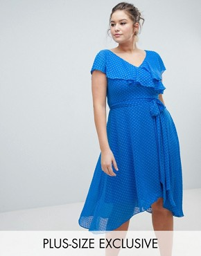 photo Dobby Wrap Dress by Coast Plus, color Mid Blue - Image 1