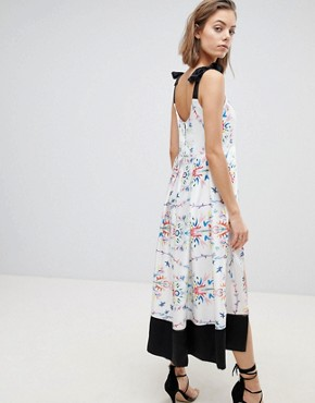 photo Abstract Floral Slit Midi Dress by Sabina Musayev, color White Print - Image 2