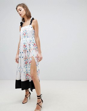photo Abstract Floral Slit Midi Dress by Sabina Musayev, color White Print - Image 1