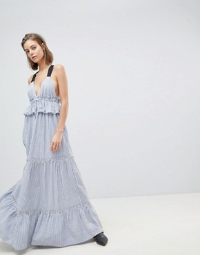 photo Stripe Tiered Dress by Sabina Musayev, color Navy - Image 1