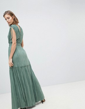 photo Metallic Crinkle Tiered Dress by Sabina Musayev, color Pistachio - Image 2