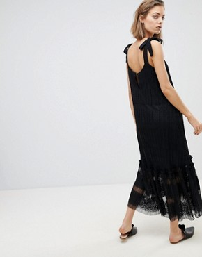 photo Lace Tiered Midi Dress by Sabina Musayev, color Black - Image 2