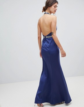 photo Plunge Maxi Dress with Embellished Detail by Minuet, color Navy - Image 2