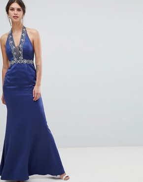 photo Plunge Maxi Dress with Embellished Detail by Minuet, color Navy - Image 1