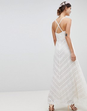 photo Racer Neck Maxi Dress with All Over Lace Detail by Minuet, color White - Image 2