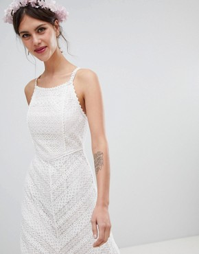 photo Racer Neck Maxi Dress with All Over Lace Detail by Minuet, color White - Image 4
