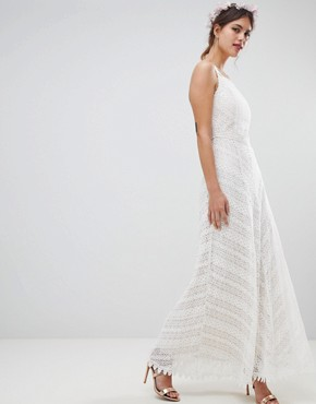 photo Racer Neck Maxi Dress with All Over Lace Detail by Minuet, color White - Image 1