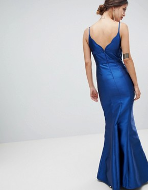 photo Fishtail Maxi Dress with Cut Out Detail by Minuet, color Navy - Image 2
