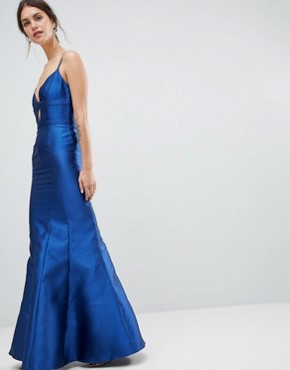 photo Fishtail Maxi Dress with Cut Out Detail by Minuet, color Navy - Image 1