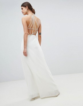 photo Exposed Back Maxi Dress with Strap Detail by Minuet, color White - Image 1