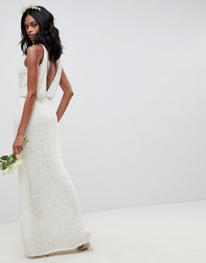 photo Floral Embellished Lace Wedding Dress by ASOS EDITION, color White - Image 2