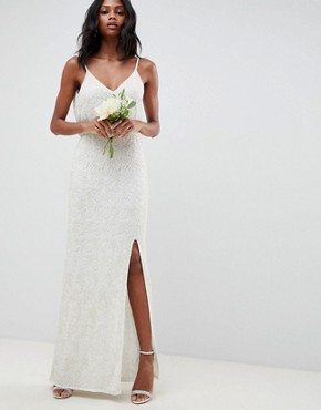 photo Floral Embellished Lace Wedding Dress by ASOS EDITION, color White - Image 1