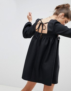 photo Smock Mini Dress with Trim by Reclaimed Vintage Inspired, color Black - Image 2