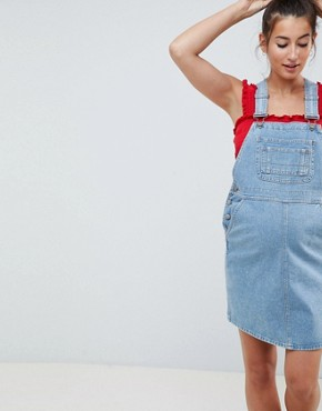 photo Maternity Denim Dungaree Dress in Vintage Blue by ASOS DESIGN, color Vintage Blue - Image 1