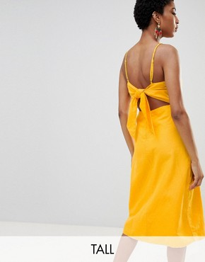 photo Midi Dress with Cut Out Back by Vero Moda Tall, color Yellow - Image 1