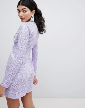 photo Long Sleeve Lace Mini Dress by PrettyLittleThing, color Lilac - Image 2