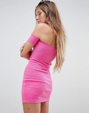 photo Off Shoulder Dress with Button Front in Crinkle by Motel, color Hot Pink Crinkle - Image 2