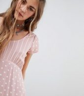 photo Tea Dress in Spot and Stripe Print by Motel, color Spot Stripe Pink Whi - Image 3