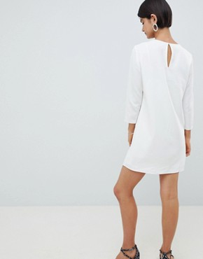 photo Eliza Smock Neck Shift Dress by French Connection, color Winter White - Image 2