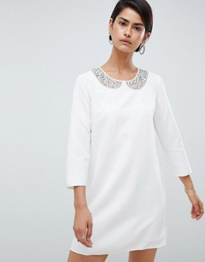 photo Eliza Smock Neck Shift Dress by French Connection, color Winter White - Image 1