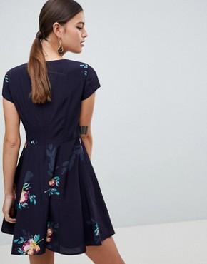 photo Delphine Floral Print One Shoulder Dress by French Connection, color Utility Blue Multi - Image 2